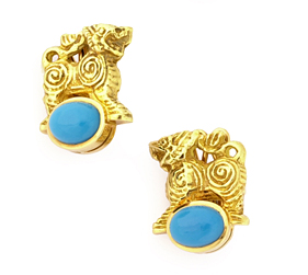 GoldThaiTempleLionsWithTurquoiseCabochons